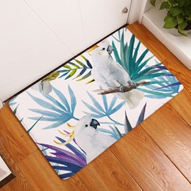 16×24in White Parrots on Tropical Plants Flannel Water Absorption Soft Nonslip Bath Rug