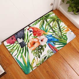 16×24in Green Tropical Plants and Parrot Flannel Water Absorption Soft Nonslip Bath Rug