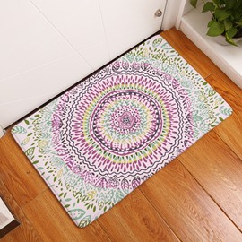 16×24in Colorful Flower Bohemian Style Flannel Water Absorption Soft and Nonslip Bath Rug/Mat