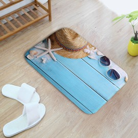 16×24in Sunglasses Hat and Starfish Flannel Water Absorption Soft and Nonslip Bath Rug/Mat
