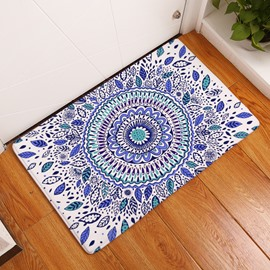 16×24in Blue Flower Bohemian Style Flannel Water Absorption Soft Nonslip White Bath Rug/Mat