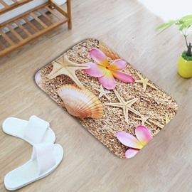 16×24in Pink Flower Starfishes and Shells Flannel Water Absorption Soft and Nonslip Bath Rug/Mat