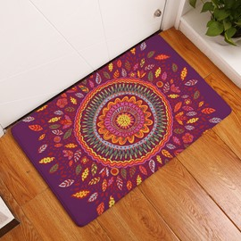 16×24in Flower Bohemian Style Flannel Water Absorption Soft and Nonslip Purple Bath Rug/Mat