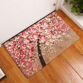 16×24in Pink Flowers Oil Painting Flannel Water Absorption Soft and Nonslip Bath Rug/Mat