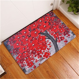 16×24in Red Flowers Flannel Water Absorption Soft and Nonslip Grey Bath Rug/Mat