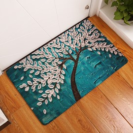16×24in White Leaves Flannel Water Absorption Soft and Nonslip Blue Bath Rug/Mat