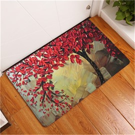 16×24in Red Leaves Oil Painting Flannel Water Absorption Soft and Nonslip Bath Rug/Mat