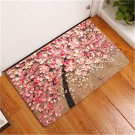 16×24in Pink Flowers Flannel Water Absorption Soft and Nonslip Bath Rug/Mat