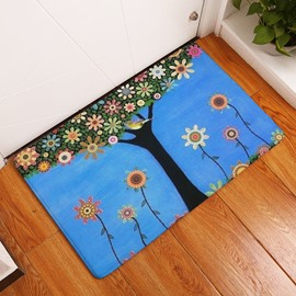 16×24in Blue Background with Colorful Flowers Flannel Water Absorption and Nonslip Bath Rug/Mat