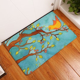 16×24in Bird on Branches Flannel Water Absorption Soft and Nonslip Bath Rug/Mat
