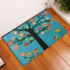 16×24in Colorful Flowers Flannel Water Absorption Soft and Nonslip Blue Bath Rug/Mat