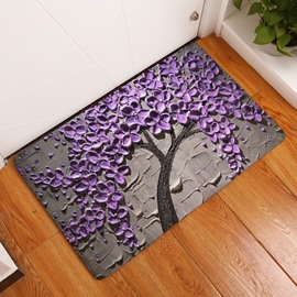 Purple Tree Printed Oil Painting Flannel Gray Bath Rug/Mat