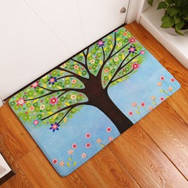 16×24in Tree and Flowers Flannel Water Absorption Soft and Nonslip Blue Bath Rug/Mat