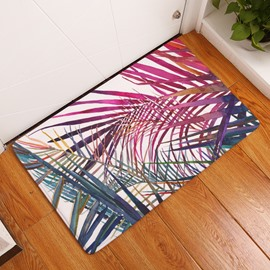 16×24in Purple and Green Plants Flannel Water Absorption Soft and Nonslip Bath Rug/Mat