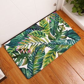 16×24in Green Leaves Flannel Water Absorption Soft and Nonslip Bath Rug/Mat