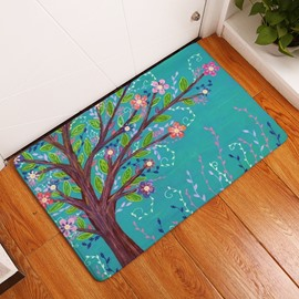 16×24in Brown Branches with Red Flowers Water Absorption and Nonslip Blue Bath Rug/Mat