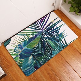 16×24in Green Plants Flannel Water Absorption Soft and Nonslip Bath Rug/Mat