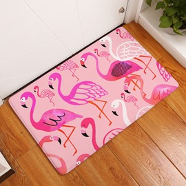 Colorful Flamingos Printed Flannel Pink Bath Rug/Mat