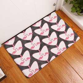 Flamingos and Heart Shape Printed Flannel Bath Rug/Mat
