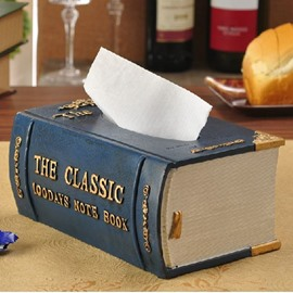 Creative Noble Vintage Book Shape Resin Tissue Box