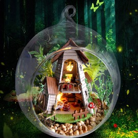 New Arrival Unique Handcraft DIY Christmas Gift Romantic Mini Forest Cabin Including Ironstand