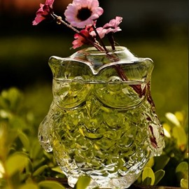 New Arrival Stunning Stylish Owl Glass Vase Ornament