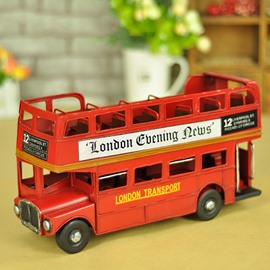 Classic London Touring Bus Open-Top Double Decker Desktop Decorations