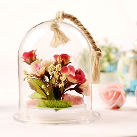 Wonderful Desktop Decoration Glass Cover Flower Sets