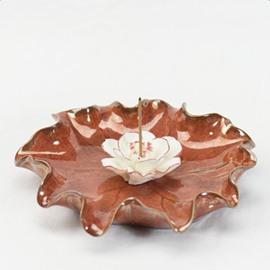 Gorgeous Lotus Design Ceramic Incense Holder