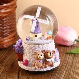 Wonderful Windmill Crystal Ball Resin Desktop Decoration