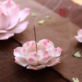 Stunning Ceramic Lotus Design Incence Holder Desktop Decoration