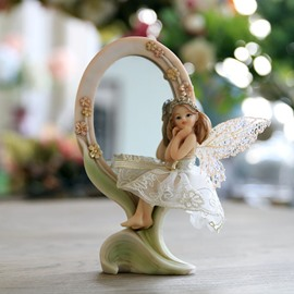 Beautiful European Style Angel Mirror Desktop Decoration