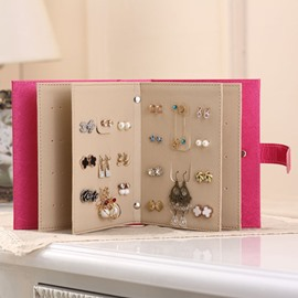 Pink Creative Leather Book Shape Earring Storage