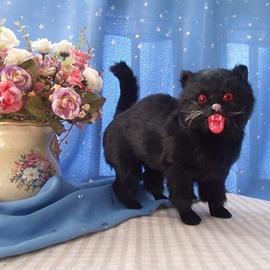 Black Plastic Artificial Cat Halloween Desktop Decoration