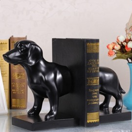 Black Resin Cute Dog Shape Design Book Holder Desktop Decoration