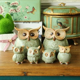 Fancy Ceramic Owls Shape Design 6 Pieces Home Desktop Decorations