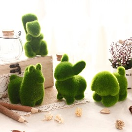 4 Piece Simulate Grass Desktop Decorations Green Rabbit