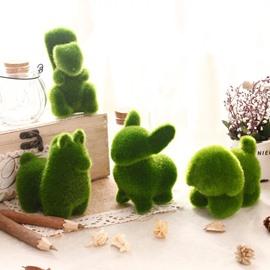 4 Piece Simulate Grass Desktop Decorations Green Rabbit