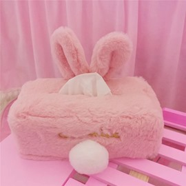 Rabbit Cute Ear Pink Color Tissue Box Desktop Decoration