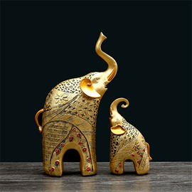 Elephant Antique European Style Resin Desktop Decoration