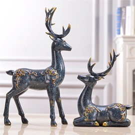 Couple Deer With Diamond Living Room Resin Desktop Decoration