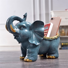 Elephant Resin European Style Storage Hand Painting Desktop Decoration