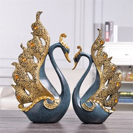 Swan Couple European Style Resin Artware Wedding Desktop Decoration
