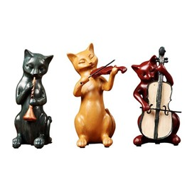 Cat Band With Instruments Retro Cat Decoration Wine Cabinet Cute Decoration 3 Together