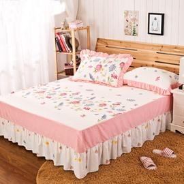 Cozy Comfortable Flower Border Pattern Bed Skirt