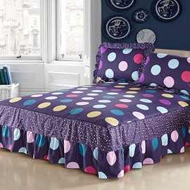 Fantastic Dark Purple and Shining Dots Pattern Bed Skirt