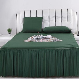 Super Cool Pure Army Green and Lace Border Pattern Bed Skirt