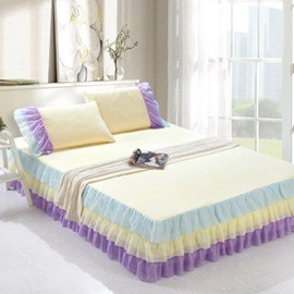 Princess Style Lace Border Shining Ivory Ultra Soft Bed Skirt and One Pair Pillow Cases