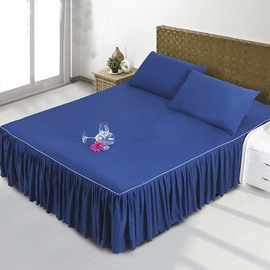 Mysterious Dark Blue Polyester Fiber Bed Skirt