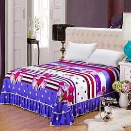 Purple and Rosy Tulips Printing Skin-care Cotton Bed Skirt